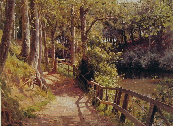 Painting by Peder Mork Monsted (Peder Mork Mønsted) (1859-1941) The forest path Oil on canvas http://www.artrenewal.org/pages/artwork.php?artworkid=4526